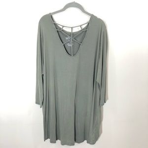 Torrid Plus Olive Soft Knit Swing Dress